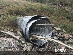 slip line rehabilitation steel structural plate pipe culvert crossing
